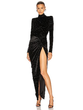 Sparking Velvet Mock Neck Gown