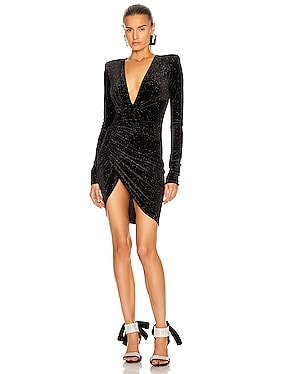 Sparking Velvet Ruched Mini Dress
