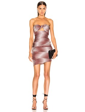Dot Twill Strapless Dress