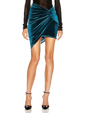 Ruched Velvet Skirt