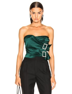 Stretch Satin Buckle Strapless Top