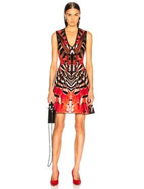 Engineered Butterfly Jacquard Sleeveless Mini Dress
