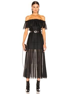 Off the Shoulder Sheer Dress