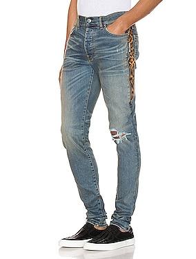 Leopard Half Track Broken Denim Jean