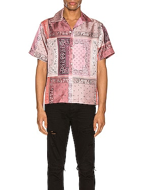 Bandana Reconstructed Short Sleeve Silk Shirt