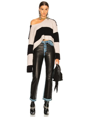 Wide Stripe Cropped Sweater