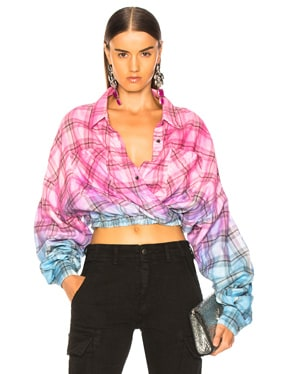 Plaid Crossover Oversized Shirt