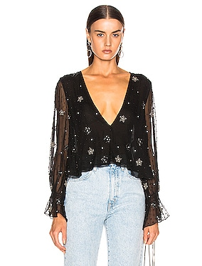 Beaded Deep V Shirt