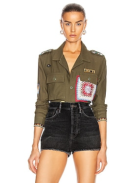 Crotchet Patch Military Top