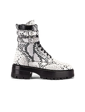 Embossed Python Combat Boot