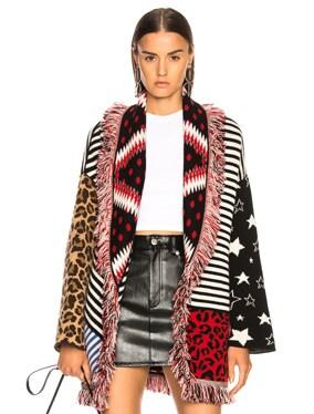 Crazy Stripes Oversized Lurex Jacquard Cardigan