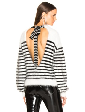 Angora Stripe Tie Back Intarsia Sweater