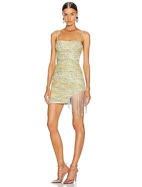 Crystal Fringe Tweed Mini Dress