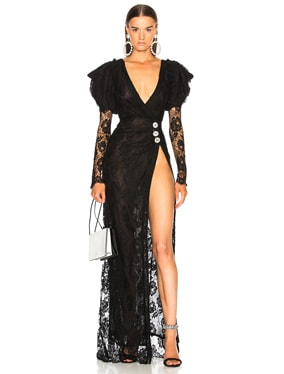 Puff Sleeve Lace Gown