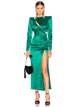Slashed Front Silk Satin Gown