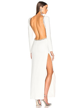 Crystal Embellishment Open Back Dress