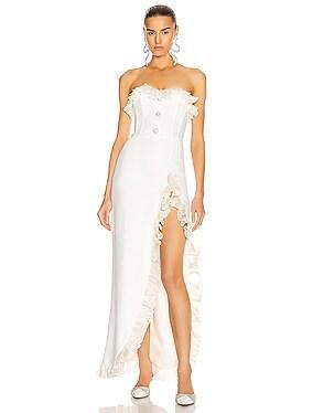 Strapless Dress With Ruffle Trim