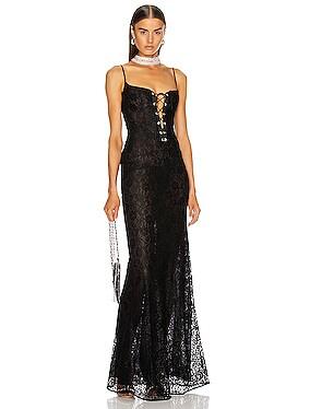 Long Lace Bustier Dress