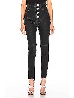 High Waisted Crystal Button Stirrup Jean