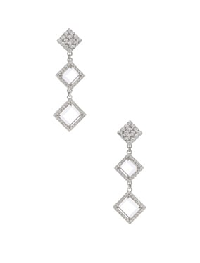 Long Diamond Crystal & Plexiglass Earrings