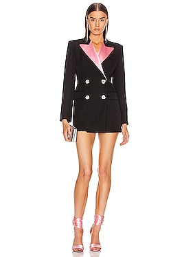 Double Breasted Jacket With Pink Collar