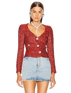 Sweetheart Neck Sequin Tweed Jacket