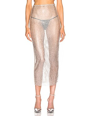 Crystal Net Midi Skirt