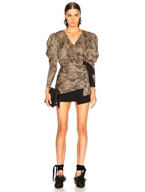 Silk Jacquard Leopard Wrap Blouse