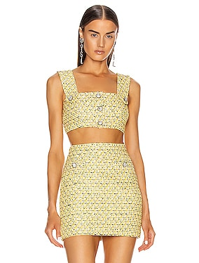 Sequin Tweed Crop Top