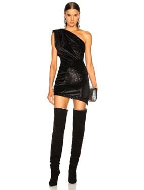Vera One Shoulder Velvet Mini Dress