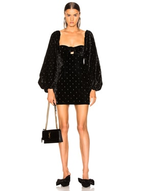 Delicia Embroidered Velvet Mini Dress