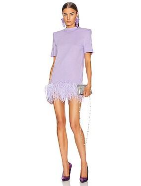 Short Sleeve Feather Trim Mini Dress