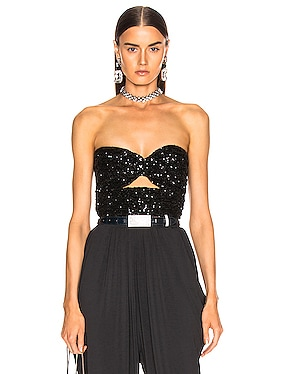 Full Paillettes Strapless Drape Top