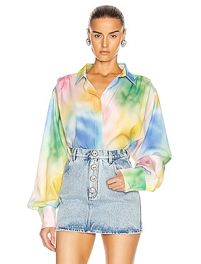 Printed Oversized Button Down Blouse
