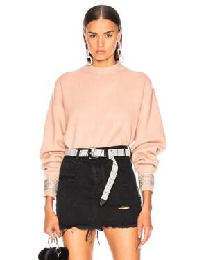 Crystal Cuff Crew Neck Sweater