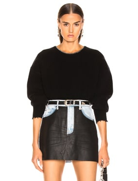 Split Back Chain Crew Sweater