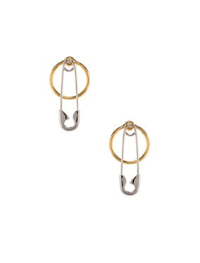 Safety Pin and Hoop Earrings
