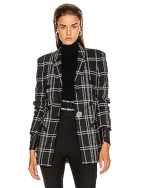 Peaked Lapel Blazer with Leather Sleeves