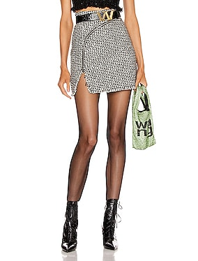 Tweed Zipper Mini Skirt