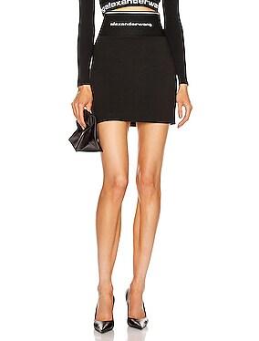 Logo Elastic Zipper Mini Skirt