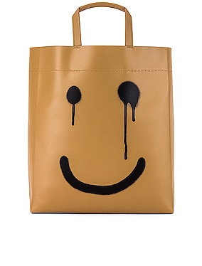 Happy Printed Market Tote Bag