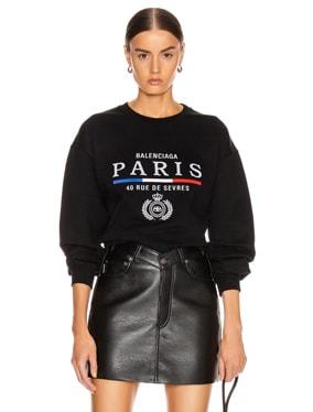 Paris Flag Crew Neck Sweatshirt