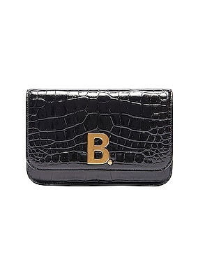 B Embossed Croc Continental Chain Bag