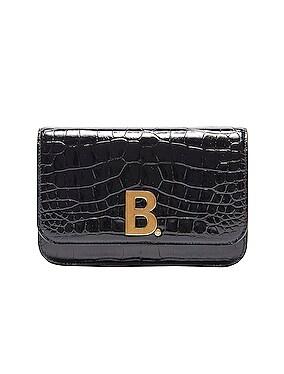 B Embossed Croc Continental Chain Bag