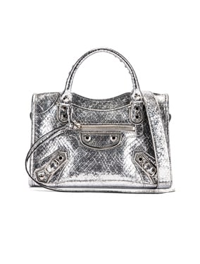 Mini Embossed Python City Bag