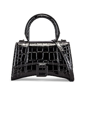 XS Embossed Croc Hourglass Top Handle Bag