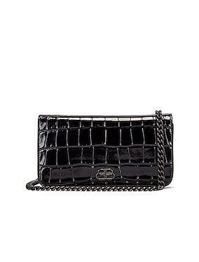 BB Embossed Croc Phone Holder Chain Bag