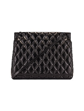 Large Quilted Leather B Shoulder Bag