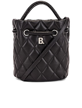 Small Quilted Leather B Bucket Bag