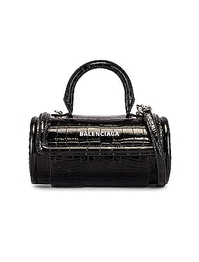 Small Embossed Croc Round Top Handle Bag